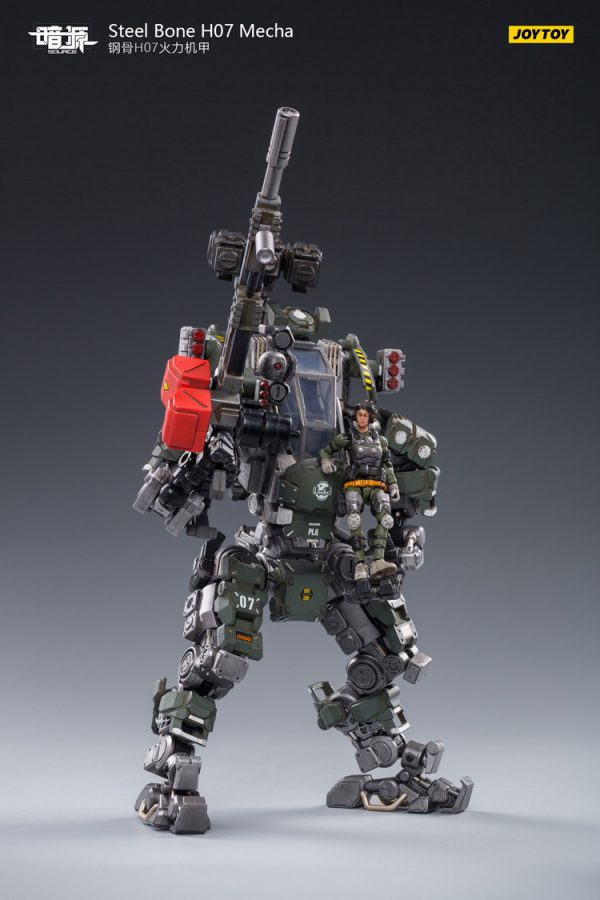 JoyToy Action Figure 23cm Scale 1/24 Dark Source Steelbone Armor H07 Firepower Olive With Pilot Mechanical Collection Army Model Miniature